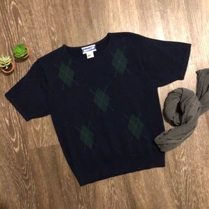 Vintage Pendleton   m   argyle knit short sleeve